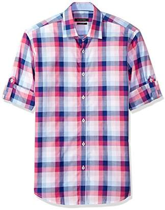 Bugatchi Men's Fitted Roll-up Sleeve Point Collar Sport Shirt