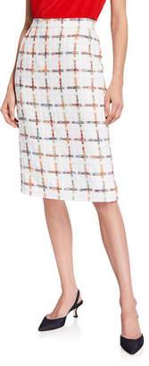 9a956fa752 Escada Windowpane Tweed Pencil Skirt