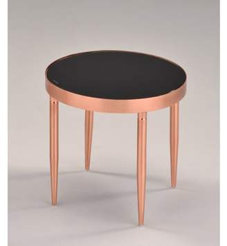 """Pilaster Designs Madeleine 16"""" 4 Legged Black Metal & Frosted Tempered Glass Top Modern Round End or Bedside Table"""