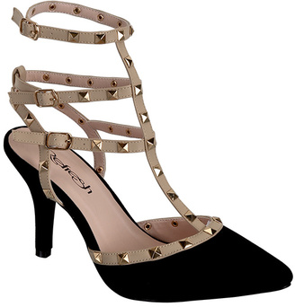 Black Studded-Strap Viva Pump $39.99 thestylecure.com