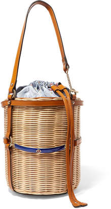Gucci Linea Cestino Leather-trimmed Wicker Bucket Bag - Beige