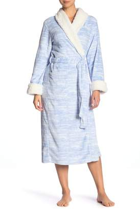 Carole Hochman Super-Soft Faux Shearling Trim Long Robe