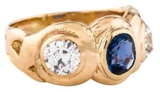 Ring 14K Sapphire & Diamond Three-Stone