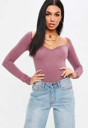 Missguided Purple Sweetheart Neckline Long Sleeve Bodysuit