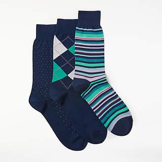 John Lewis Made in Italy Egyptian Cotton Argyle Stripe Dot Socks, Pack of 3, Navy/Multi