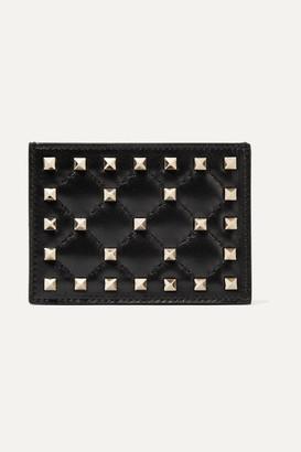 Valentino Garavani The Rockstud Quilted Leather Cardholder - Black