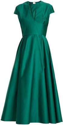 Rochas Capped-sleeve duchess-satin dress