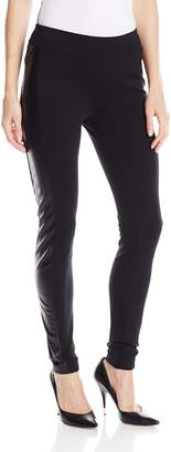 Kensie Women's Ponte Legging with Faux Leather Trim