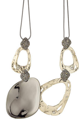 Alexis Bittar 10kt Gold Necklace with Pyrite and Crystals
