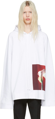 Raf Simons White Robert Mapplethorpe Edition Oversized Calla Lily Hoodie $645 thestylecure.com