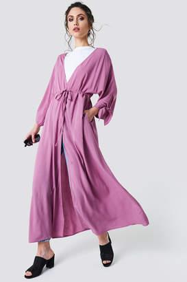 Na Kd Boho Tied Sleeve Coat Dress Cherry
