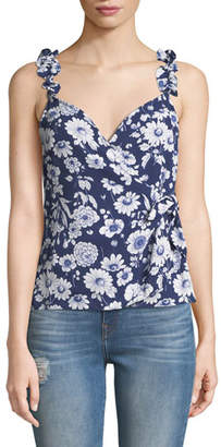 LIKELY Marin Sleeveless Floral Ruffle Top