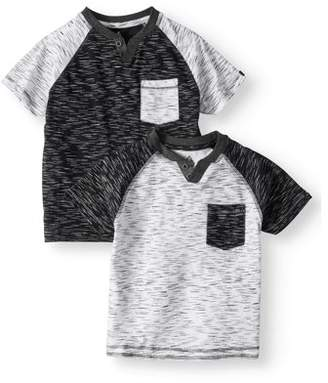 SWISS CROSS Short Sleeve Two Color Marled V-Notched Crew Jersey Tee, Value 2 Pack (Little Boys)