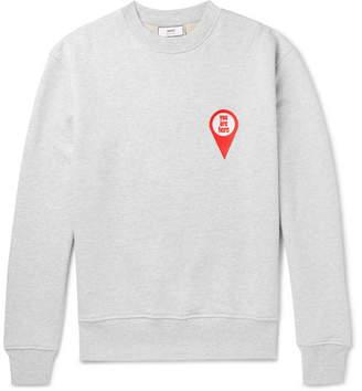 Ami Appliquéd Mélange Fleece-Back Cotton-Jersey Sweatshirt