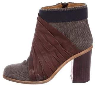VPL Woven Round-Toe Ankle Boots