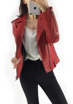 HZIJUE women Elegant Classic Lapel Single Breasted Leather Trench Coat Jacket