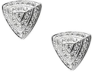 Swarovski Cristalina Silver Plated Crystal Retro Triangle Pyramid Clip On Earrings
