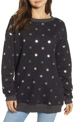 Wildfox Couture Shimmery Snowflakes Road Trip Pullover