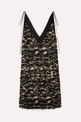 Proenza Schouler Satin-trimmed Fringed Crepe Dress - Black