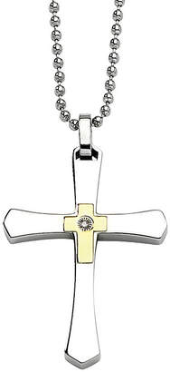 FINE JEWELRY Mens Diamond Accent Stainless Steel & 14K Yellow Gold Accent Cross Pendant