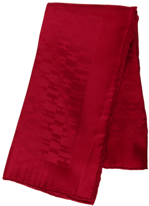 Hermes red 'H' silk pocket square