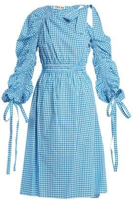 Teija Asymmetric Cotton Gingham Dress - Womens - Blue White