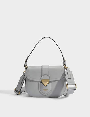 Moschino Hidden Lock Shoulder Bag in Grey Calfskin