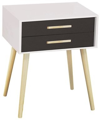 DL furniture - Nightstand Modern Fashion 4 Thin Long Legs Space Station - 2 Tier Cubic Night Stand Storage Bedside Table with 2 Drawers | Real Natural Paulownia Wood | Finish: White & Navy