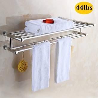 Goodg Bathroom Towel Rack with Double Towel Bar 22-Inch Wall Mount Shelf Rustproof Stainless Steel Brushed Finish