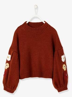 Vertbaudet Gigot-Sleeved Pullover with Flower Appliques for Girls