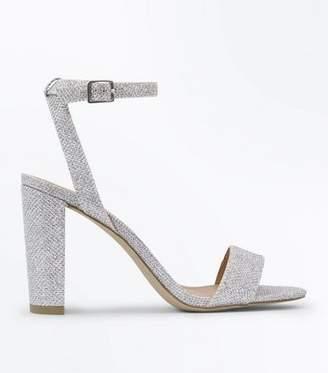22a919b647af New Look Silver Glitter Block Heel Sandals