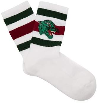 Gucci - Embroidered Panther Striped Socks - Mens - White