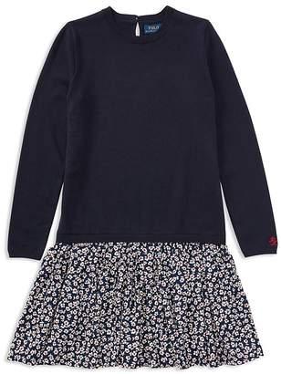 Polo Ralph Lauren Girls' Sweater Dress with Floral Skirt - Big Kid
