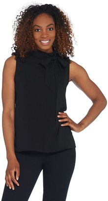 Vince Camuto Sleeveless Satin Back Tie-Neck Textured Blouse