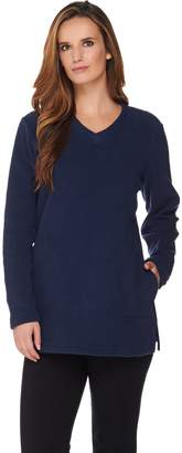 Denim & Co. Active Petite Fleece Tunic with Crossover V Neck Collar