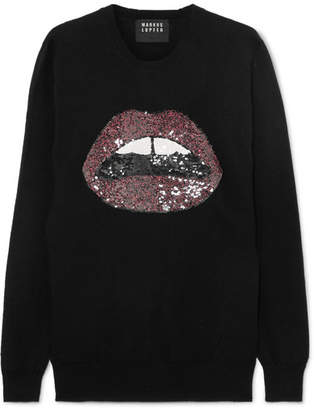 Markus Lupfer Natalie Sequined Merino Wool Sweater - Black