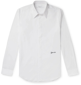Givenchy Slim-Fit Logo-Embroidered Cotton-Blend Poplin Shirt - Men - White