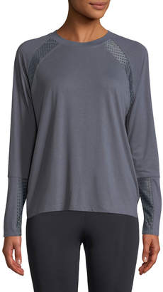 Onzie Mesh-Panel Long-Sleeve Pullover Sweatshirt