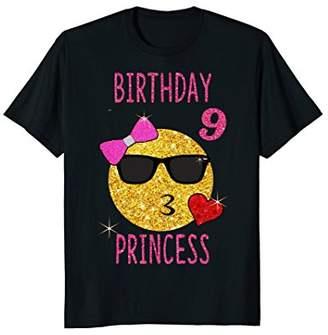 Cute Emoji 9 Years Old Shirt 9th Birthday Princess Gift