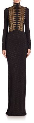 Ralph Lauren Collection Long-Sleeve Metallic Knit Cashmere Gown $3,990 thestylecure.com