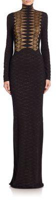 Ralph Lauren Collection Long-Sleeve Metallic Knit Cashmere Gown $3,990 thestylecure.com