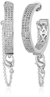 Eddie Borgo Pave Safety Chain Rhodium Plated Brass Hoop Earrings
