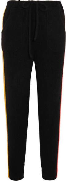 The Elder Statesman Gofa Striped Cashmere Track Pants - Black