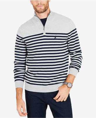 Nautica Men's Big & Tall Quarter-Zip Striped Navtech Sweater