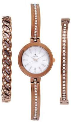 Croton Ladies IP Brown Watch Set with Two Coordinating Bracelets