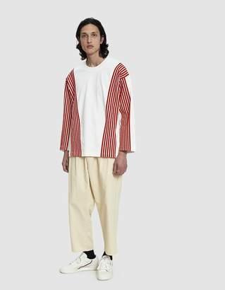 Dima Leu Velvet Stripe T-Shirt in Rogue Red