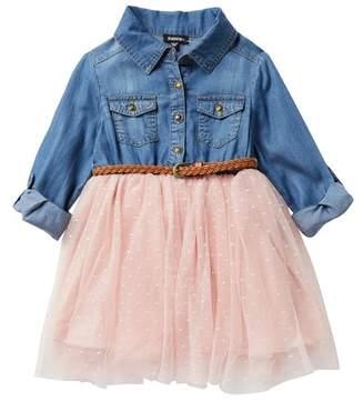 Zunie Denim Roll Tab Long Sleeve Swiss Dot Dress (Little Girls)