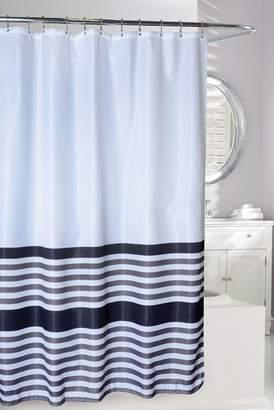 Moda At Home Bridge Stripe Waffle Shower Curtain - White\u002FBlack\u002FGrey