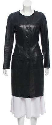 Chanel Leather Knee-Length Jacket