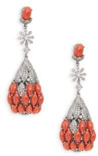 Sterling Silver Red Coral & Diamond Cluster Drop Earrings